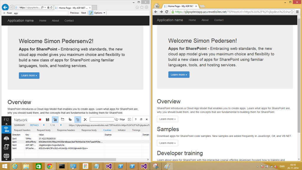 "Here's my two versions of the simple test App, in IE I have been served the new ""V2"" of the app, while in chrome (right) I still get the old version."